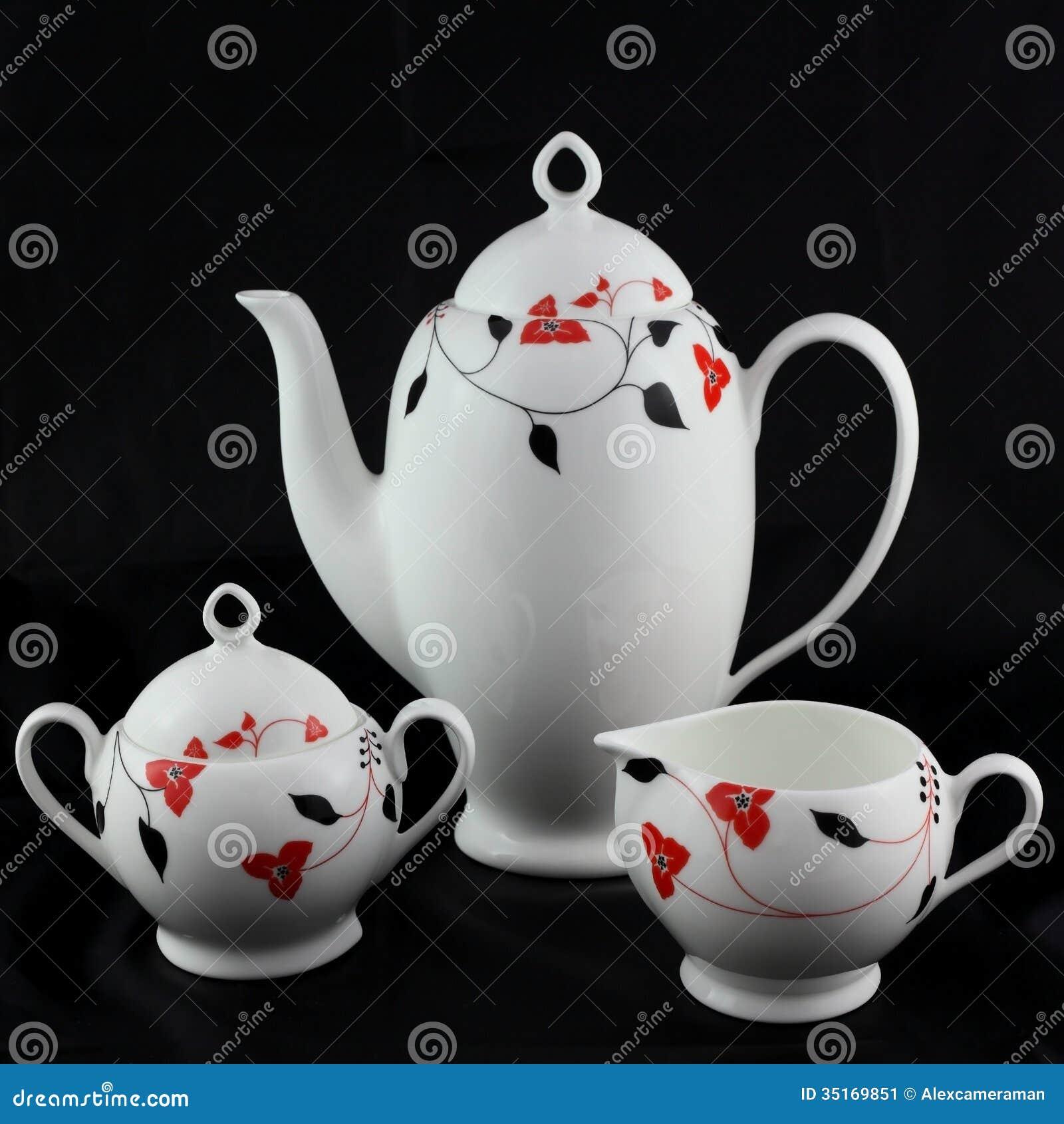 Grupo do chá e de café da porcelana.