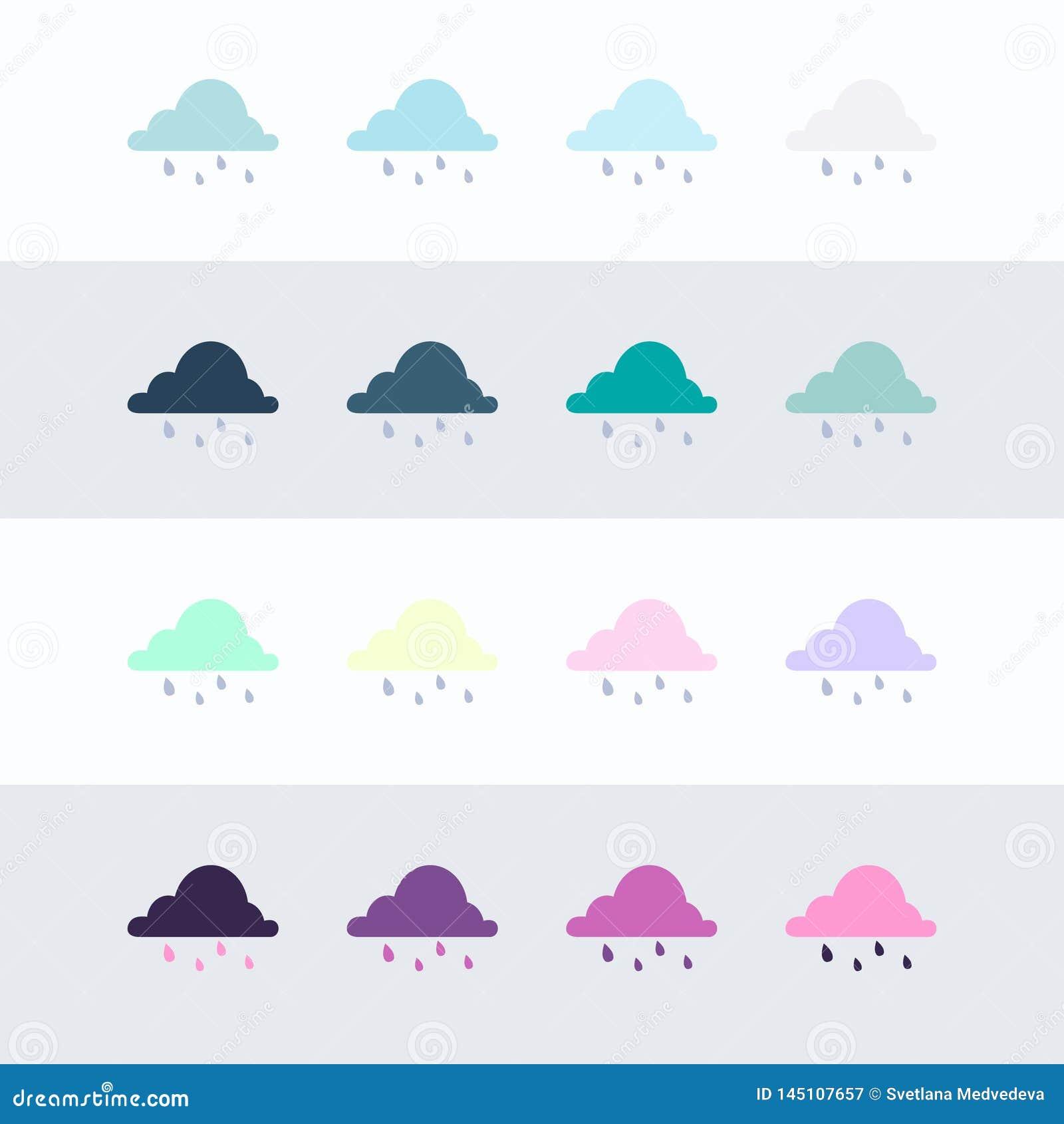 Grupo do ?cone da nuvem de chuva Grupo liso de ?cones do vetor da nuvem de chuva para o design web isolados no fundo