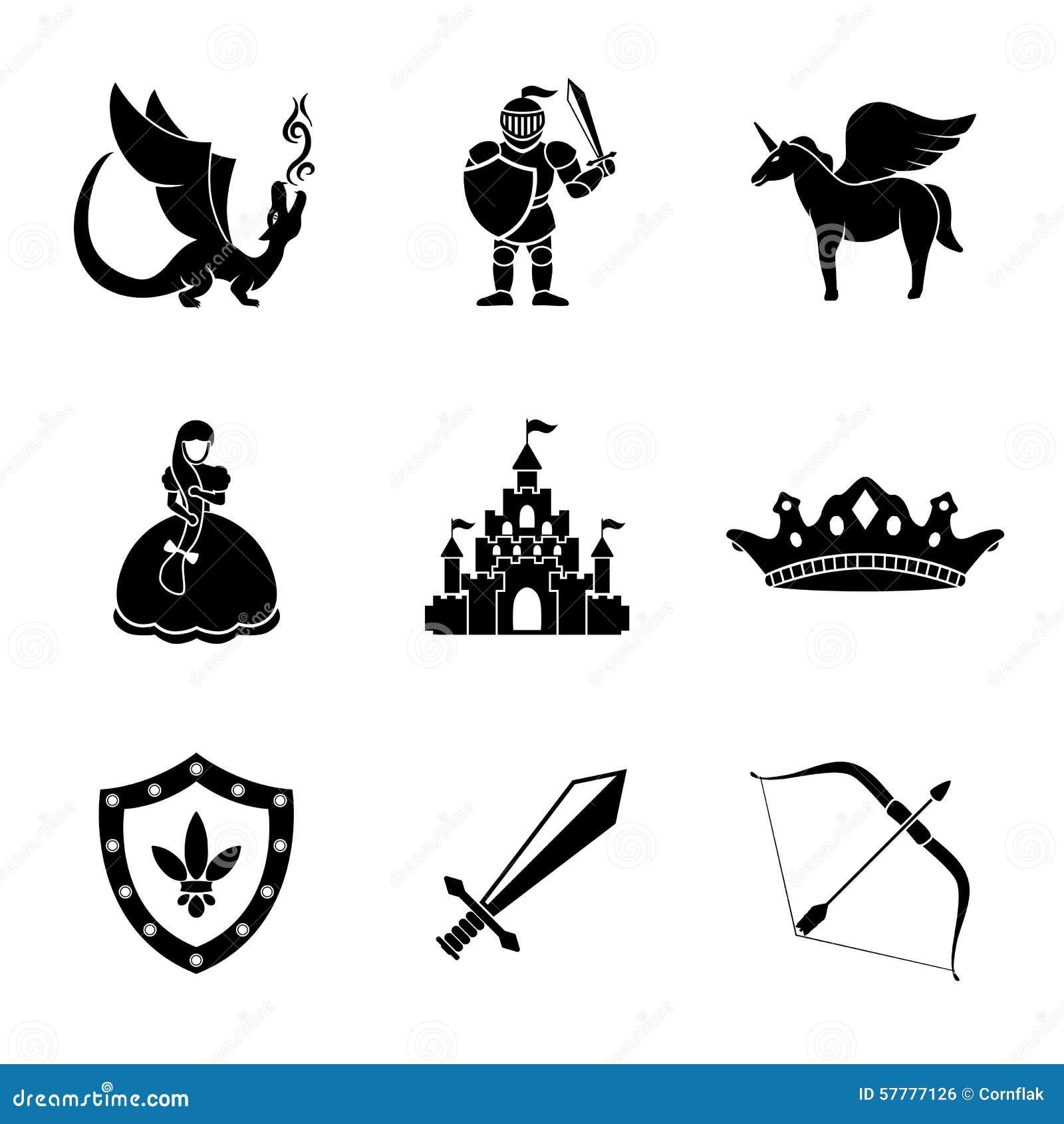 Grupo do conto de fadas monocromático, ícones do jogo com -