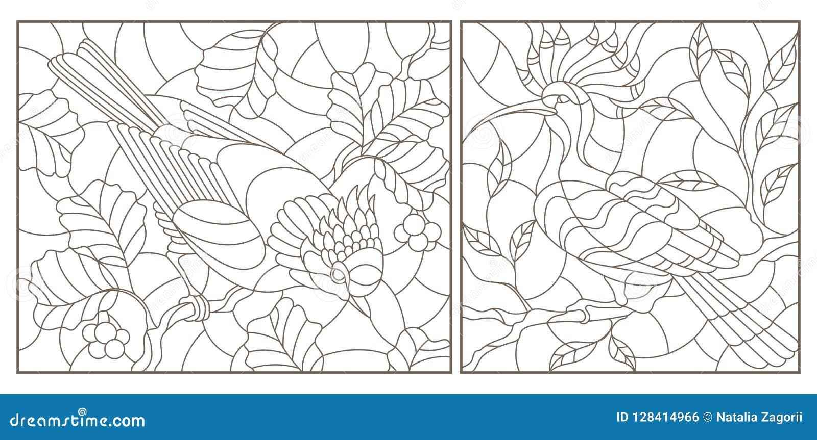 Grupo do contorno com ilustrações de janelas de vidro colorido com os pássaros contra ramos de uma árvore e folhas, contornos esc