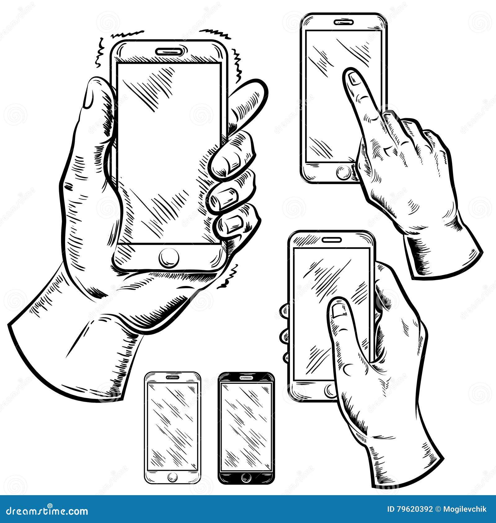 Grupo do gráfico dos Smartphones e das mãos do homem