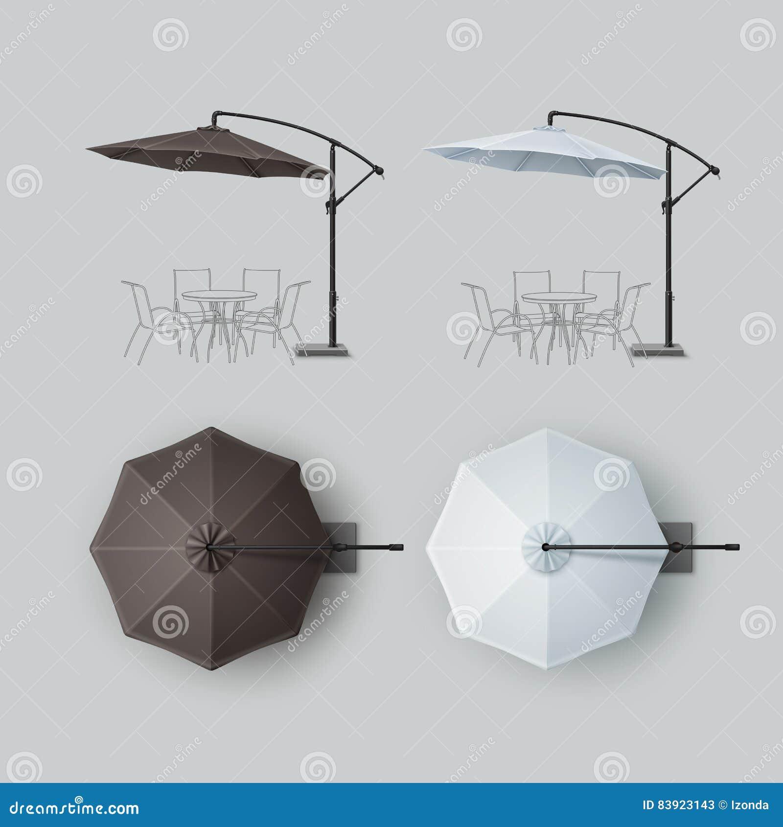 Grupo do guarda-chuva exterior branco do café da praia de Brown
