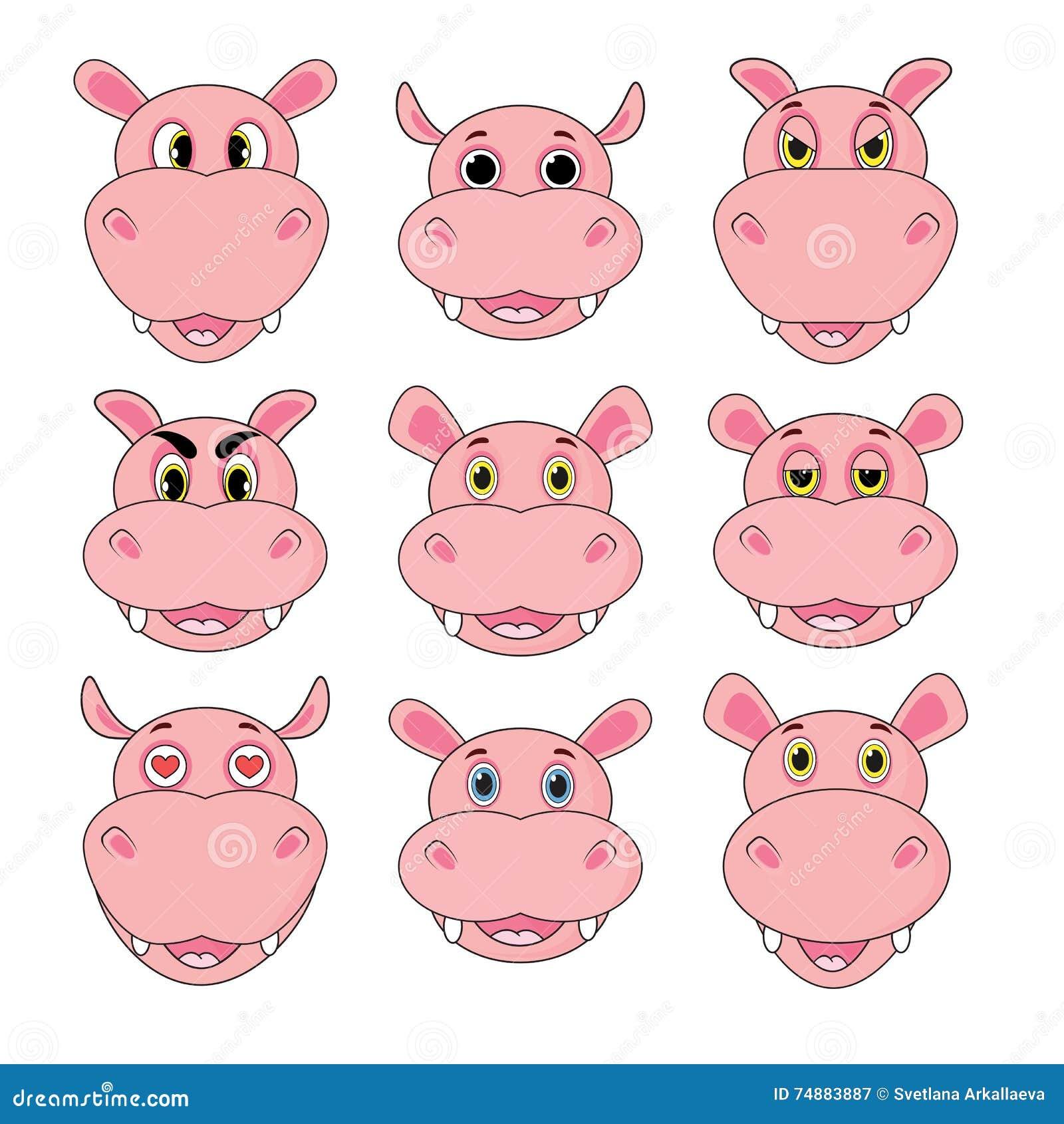 Grupo do hipopótamo de cabeças com emoções diferentes isoladas no fundo branco no vetor