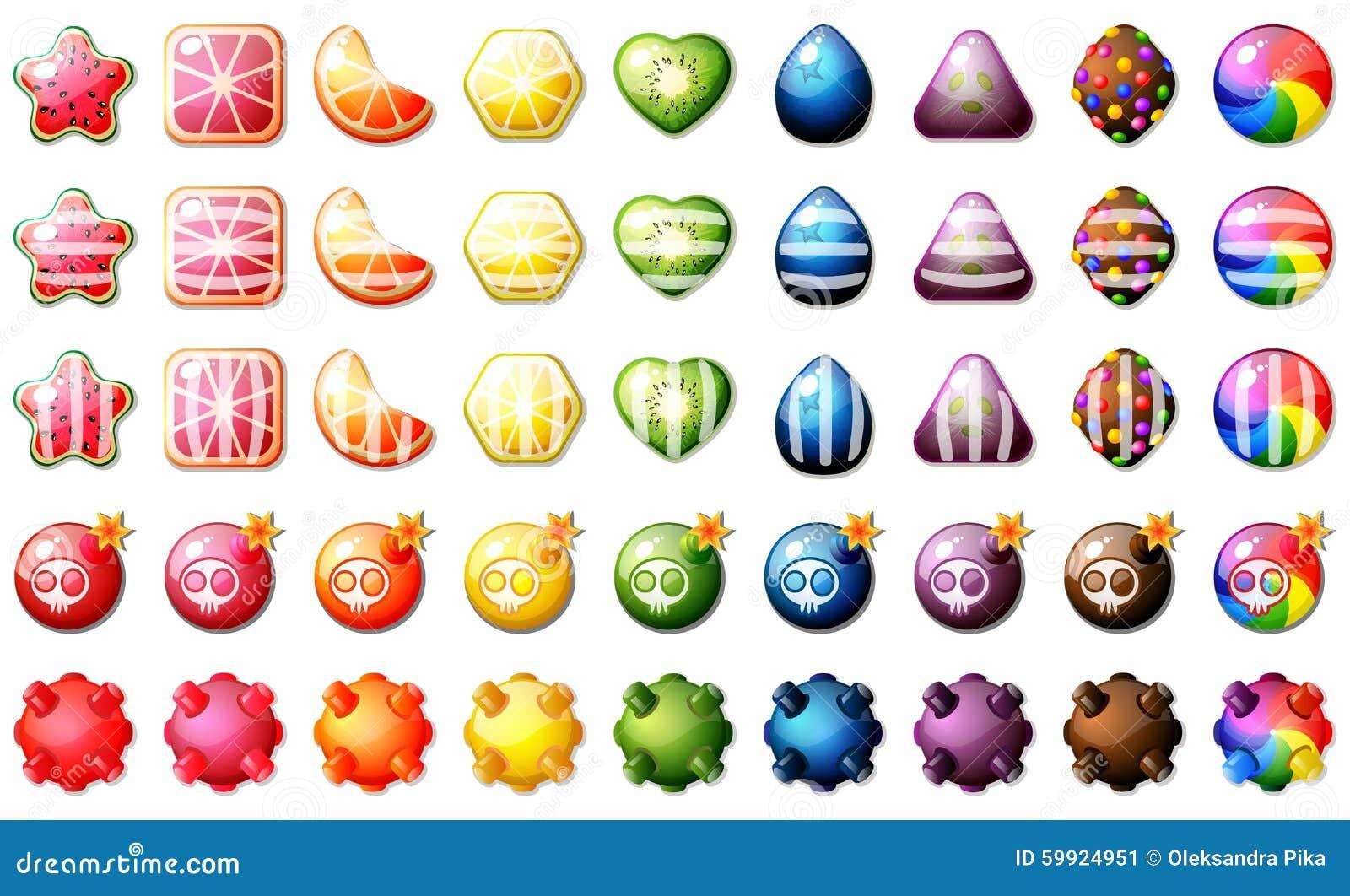 Grupo do jogo do enigma do fósforo três dos doces do fruto