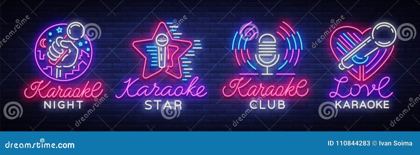 Grupo do karaoke dos sinais de néon A coleção é um logotipo claro, um símbolo, uma bandeira clara Anunciando a barra brilhante do