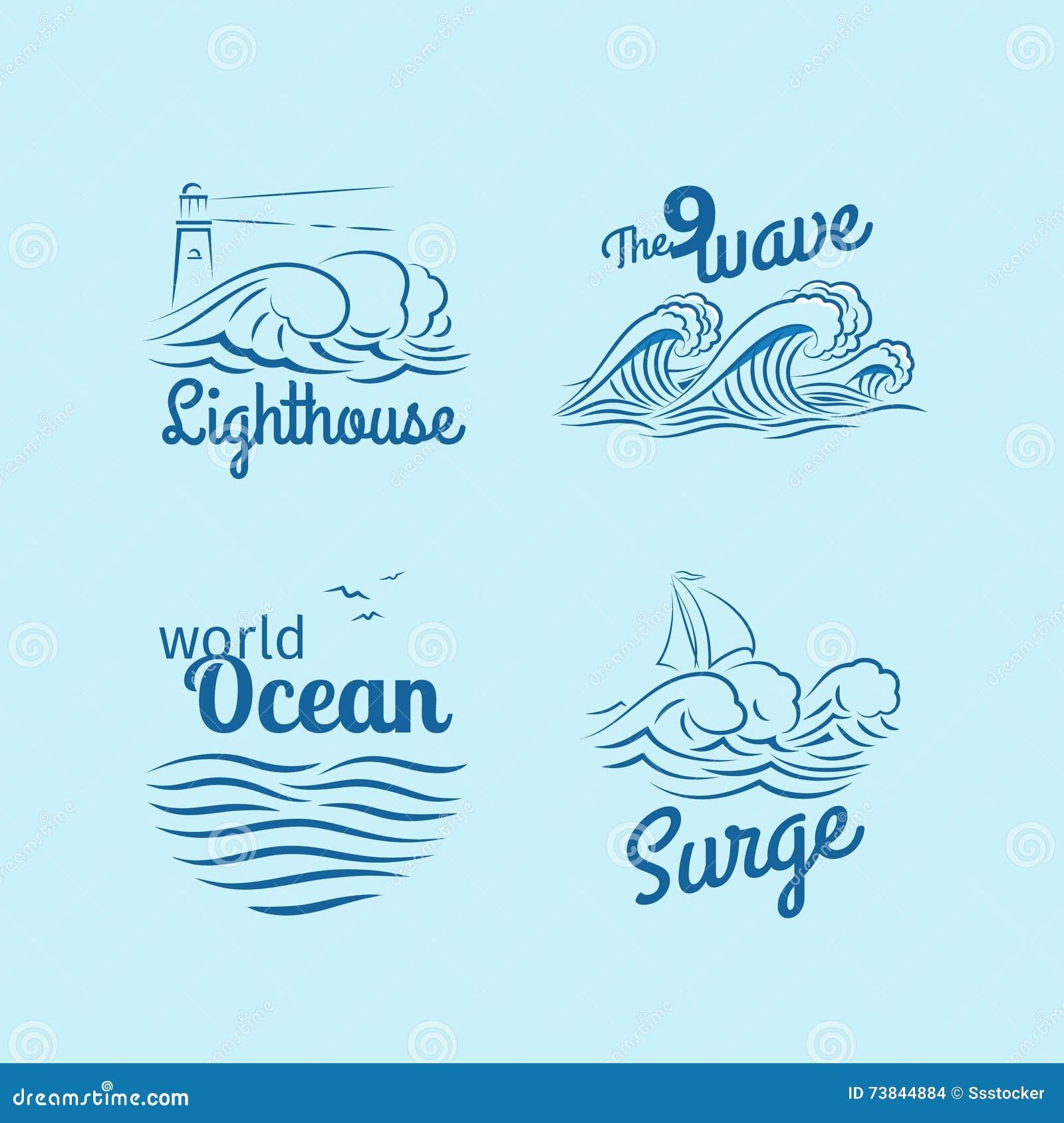 Grupo do logotipo da onda de oceano