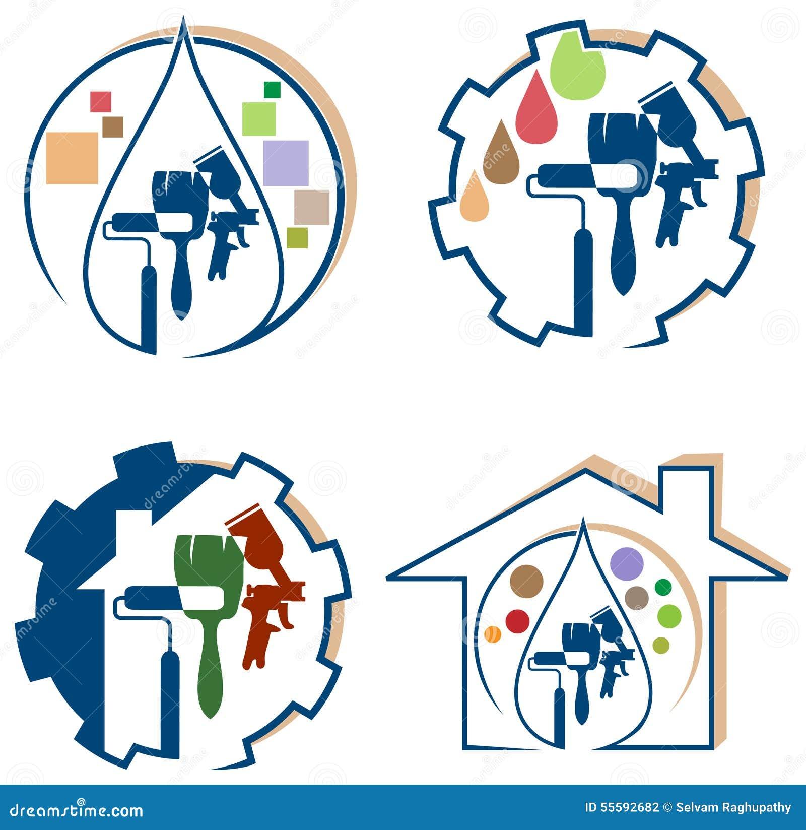 Grupo do logotipo da pintura de casa