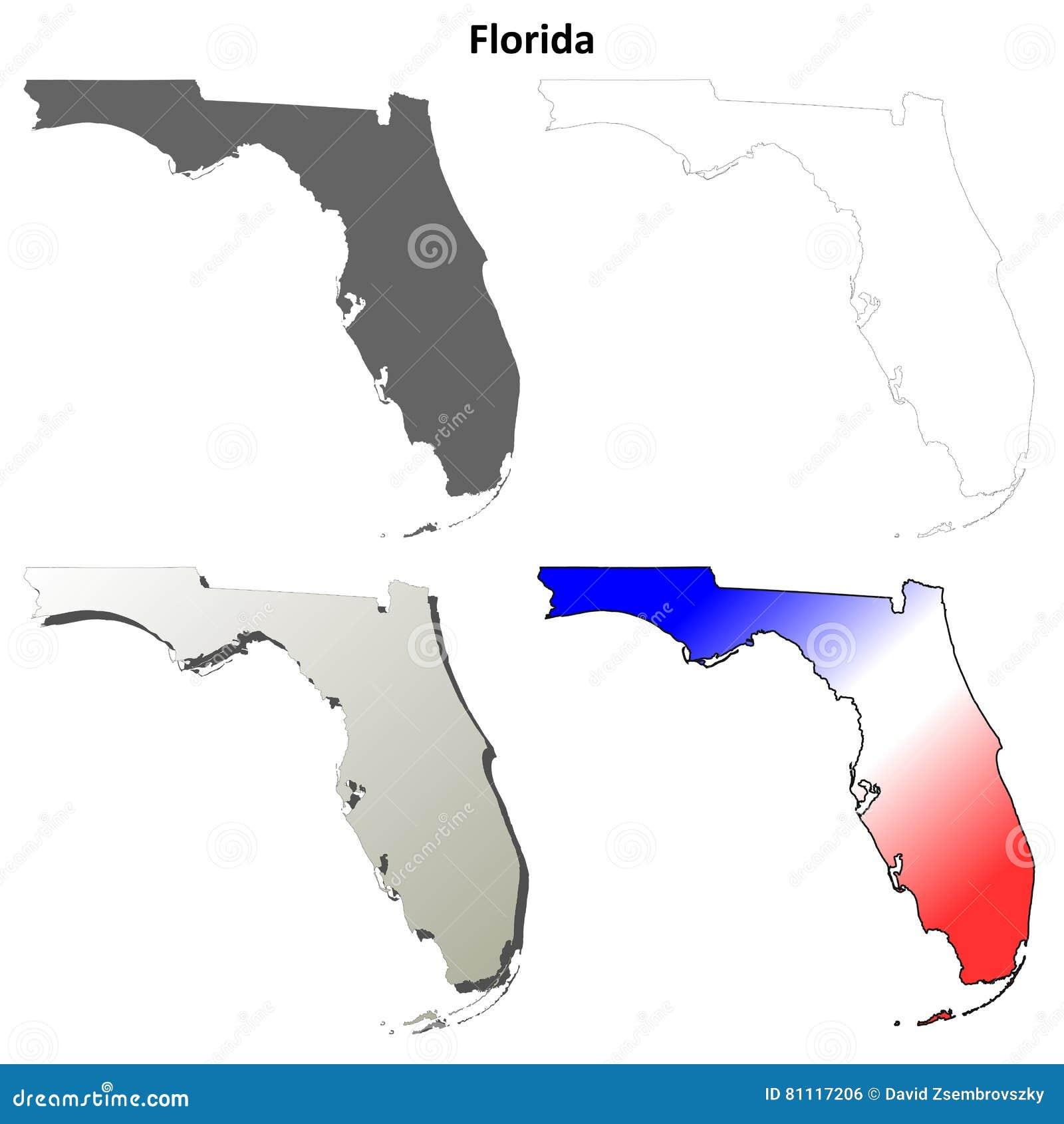 Grupo do mapa do esboço de Florida