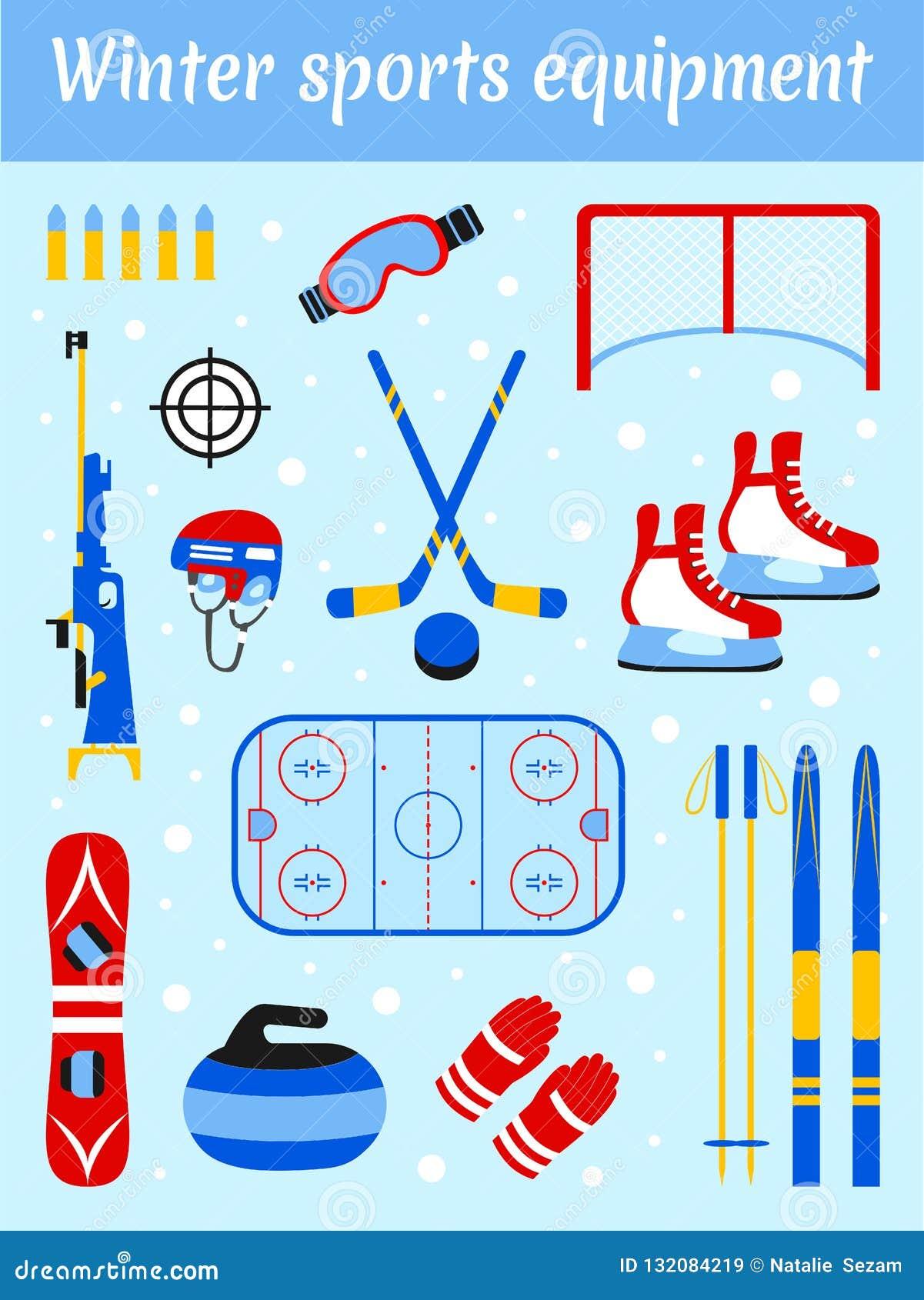 Grupo do material desportivo do inverno Ilustração ostentando do vetor dos acessórios Esqui, hóquei em gelo, snowboarding, biathl
