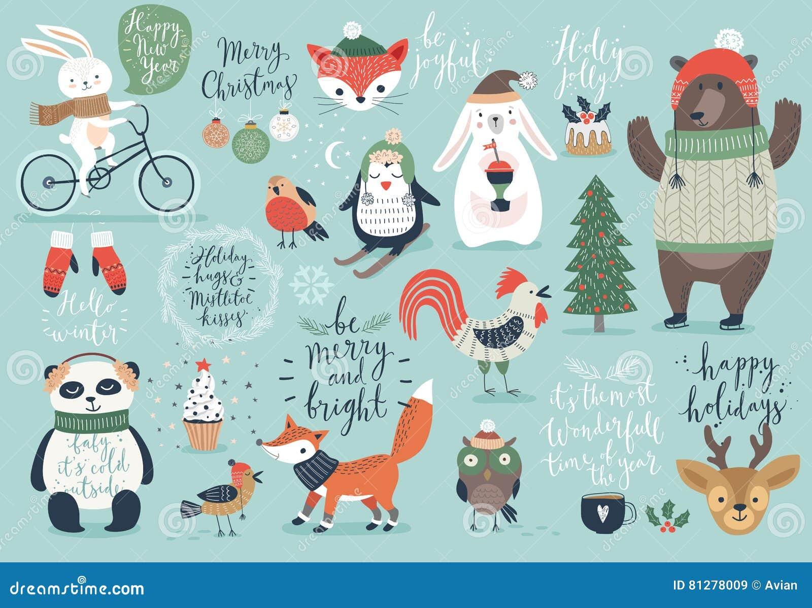 Grupo do Natal, estilo tirado mão - caligrafia, animais e outros elementos