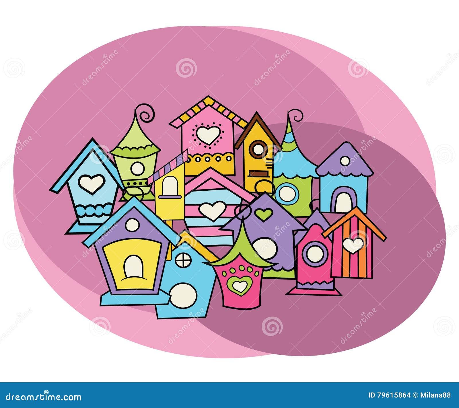 Grupo do projeto das casas do pássaro Garatuja da tração da carta branca dos desenhos animados