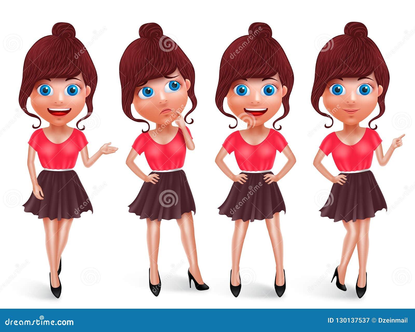 Grupo do vetor do caráter da menina da forma Jovem mulher com o equipamento elegante na postura diferente