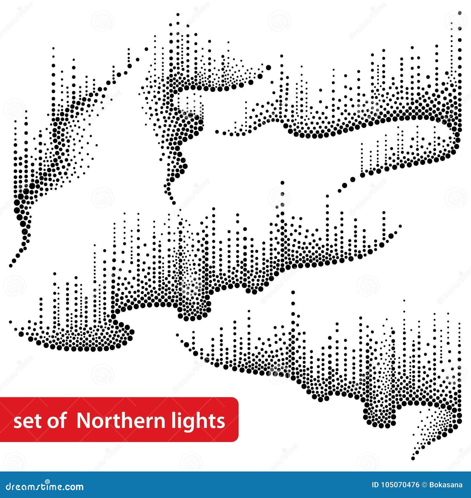 Grupo do vetor com redemoinhos pontilhados da luz do norte ou polar no preto no fundo branco Luzes do aurora borealis nos pontos