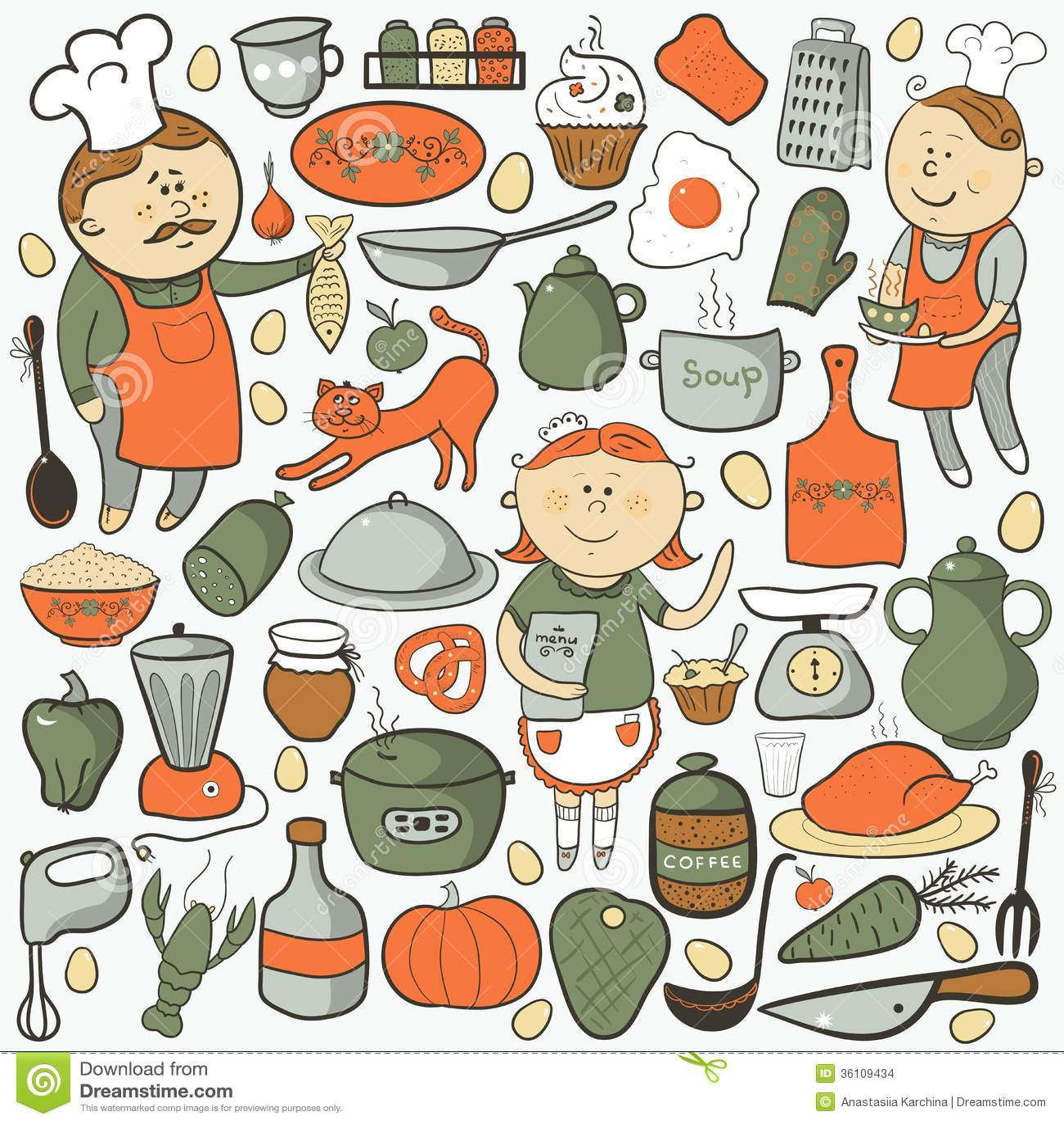Do Vetor Da Cozinha Elementos Coloridos Dos Desenhos Animados Imagens  #B74814 1300 1390