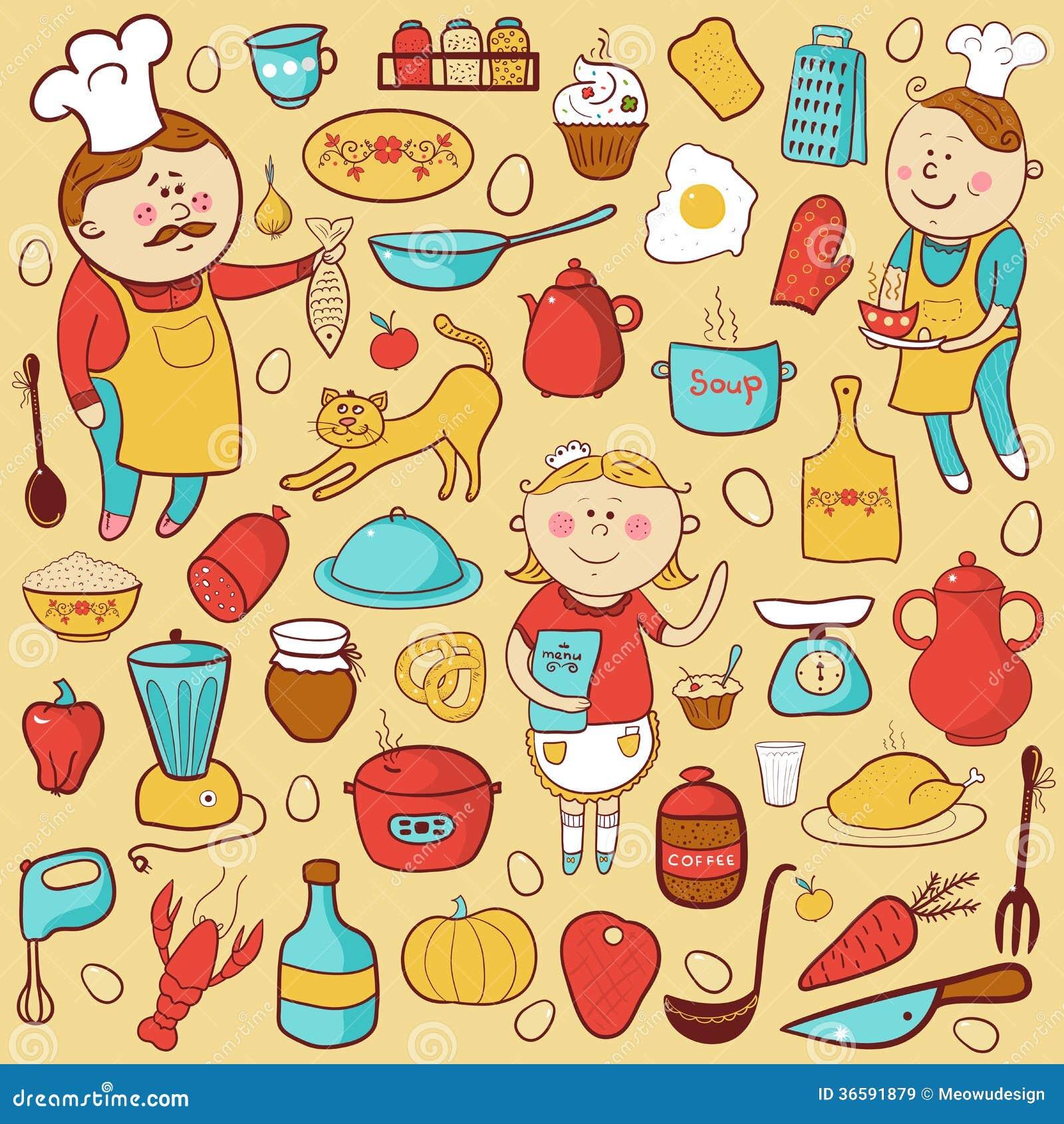 Do Vetor Da Cozinha Elementos Coloridos Dos Desenhos Animados Imagens  #BD8F0E 1300 1390