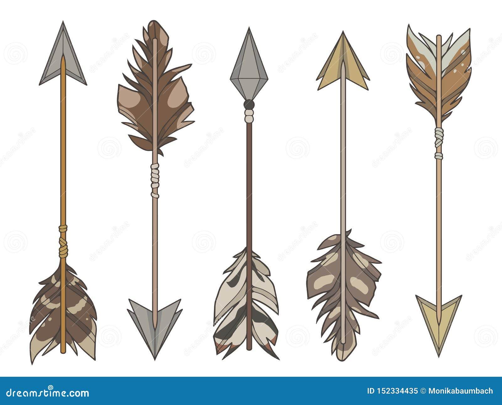 Grupo do vetor da ilustração do estilo dos desenhos animados de setas diferentes do alvo decoradas com as penas de pássaro natura