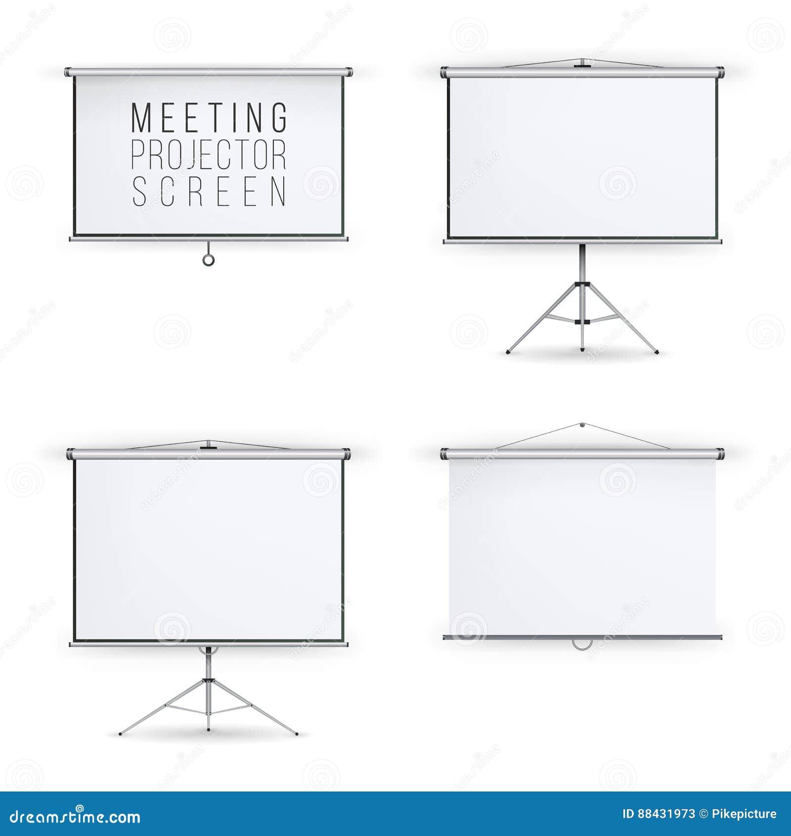 Grupo do vetor da tela do projetor da reunião Conferência da apresentação da placa branca com tripé e suspensão Apresentação vazi