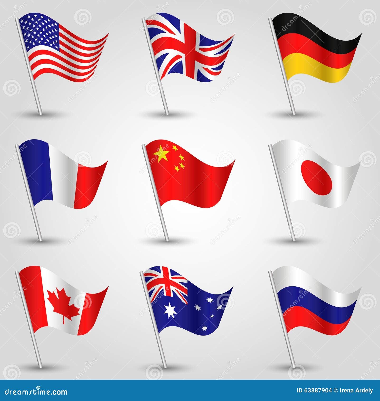 Grupo do vetor das bandeiras - americanas, o inglês, o alemão, o francês, o chinês, o japonês, o canadense, do australiano e do r
