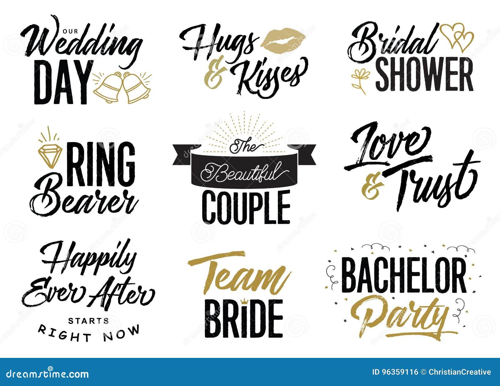 Grupo Do Vetor Das Frases Da Rotulação Da União Do Dia Do Casamento