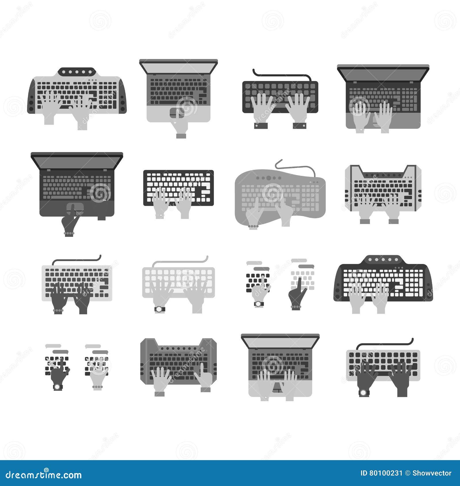 Grupo do vetor das mãos do teclado
