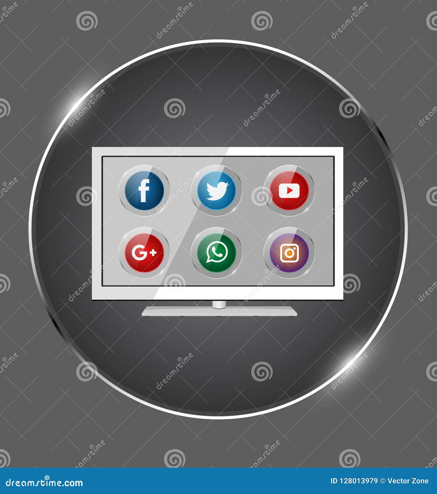 Grupo do vetor de ícone social popular dos meios com na tela da televisão Ilustração, aplicação