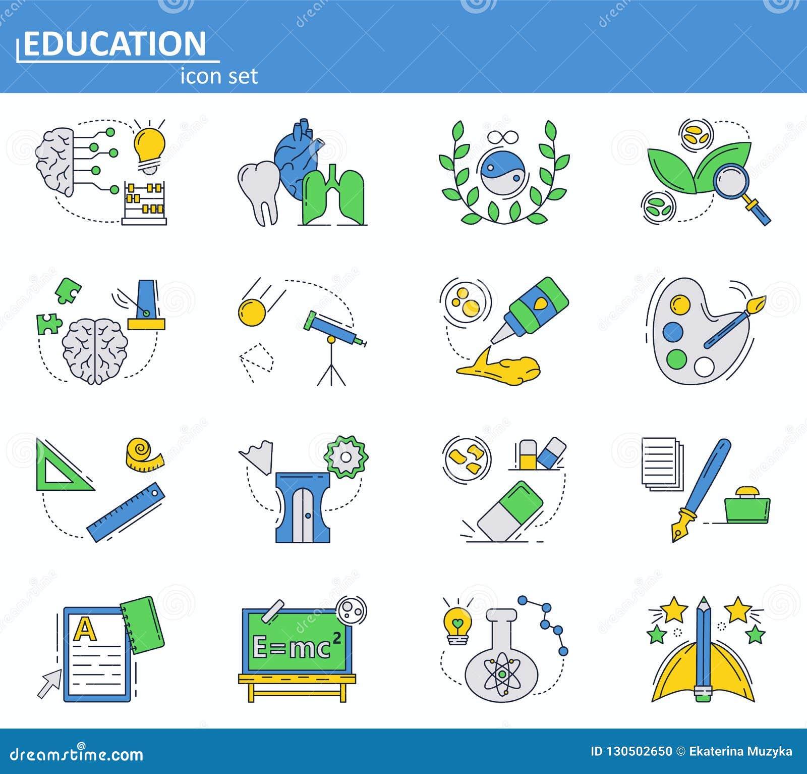 Grupo do vetor de ícones da escola e do ensino universitário na linha estilo fina Web site UI e ícone móvel do app da Web Projeto