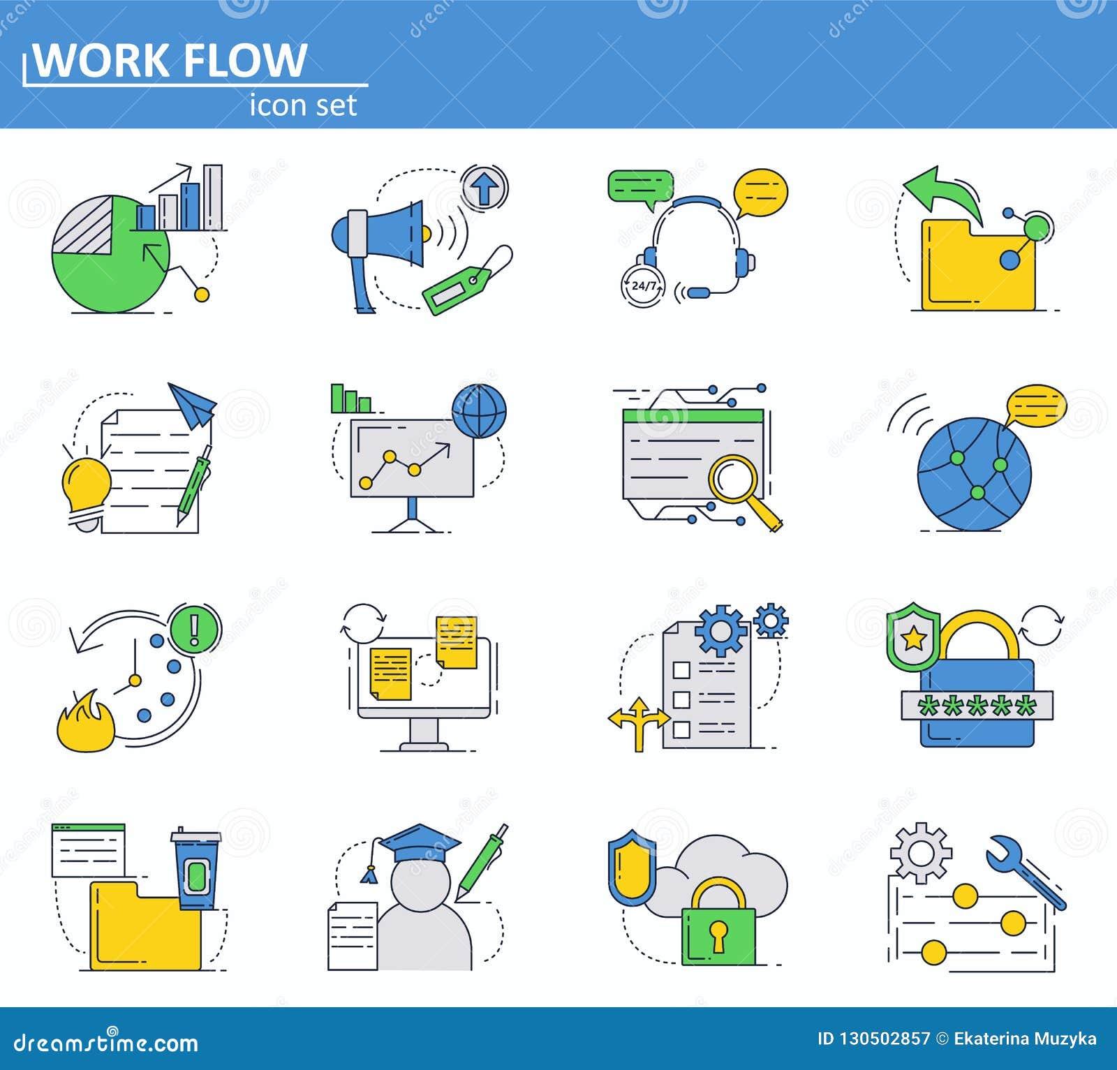 Grupo do vetor de ícones da segurança do negócio, da finança e do cyber na linha estilo fina Web site UI e ícone móvel do app da