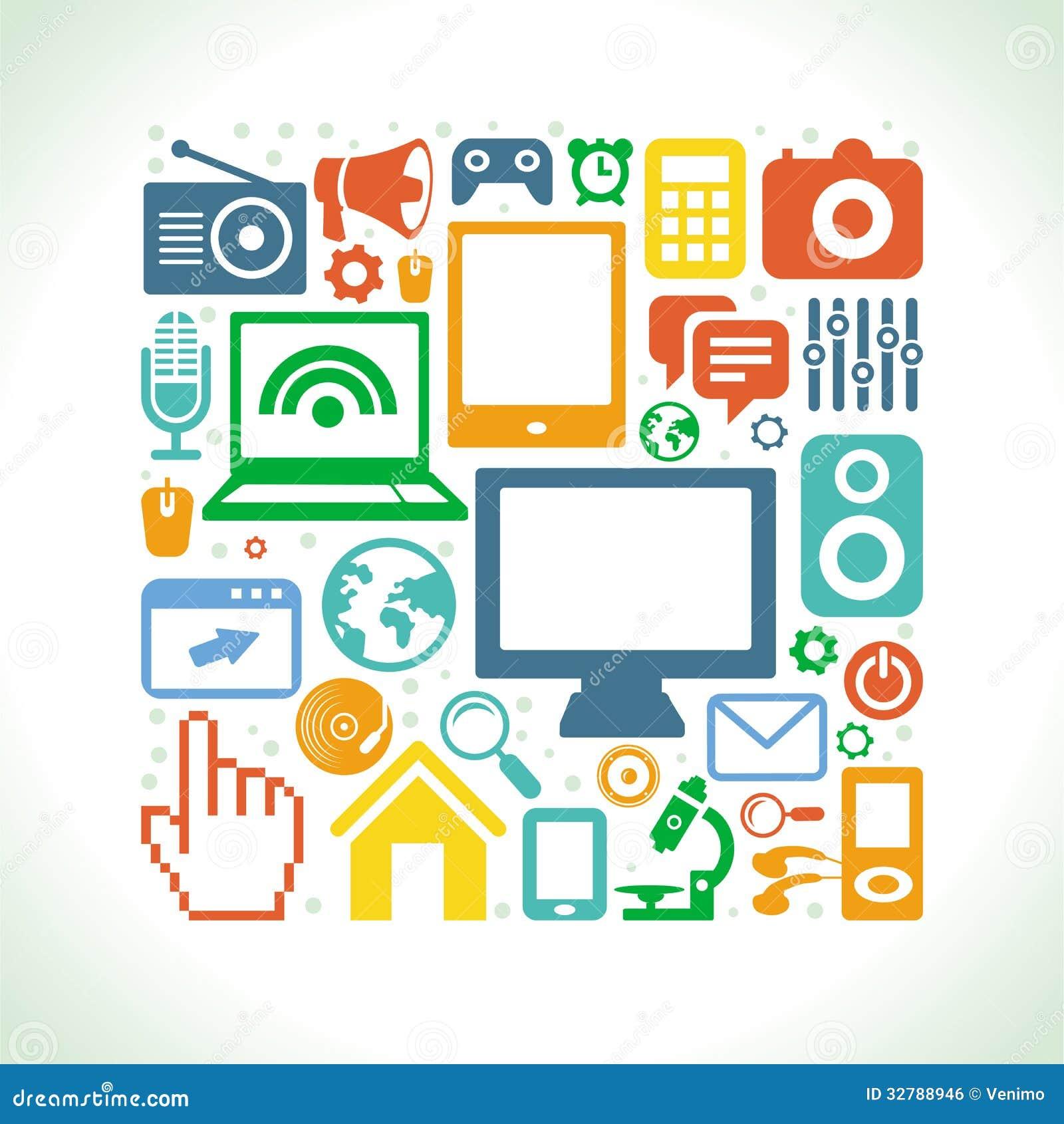 Grupo do vetor de ícones da tecnologia no estilo liso