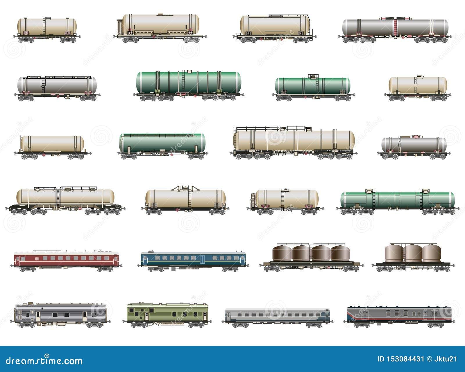 Grupo do vetor de ícones deatiled isolados de trens, de railcars, de vagões e de camionetes da estrada de ferro