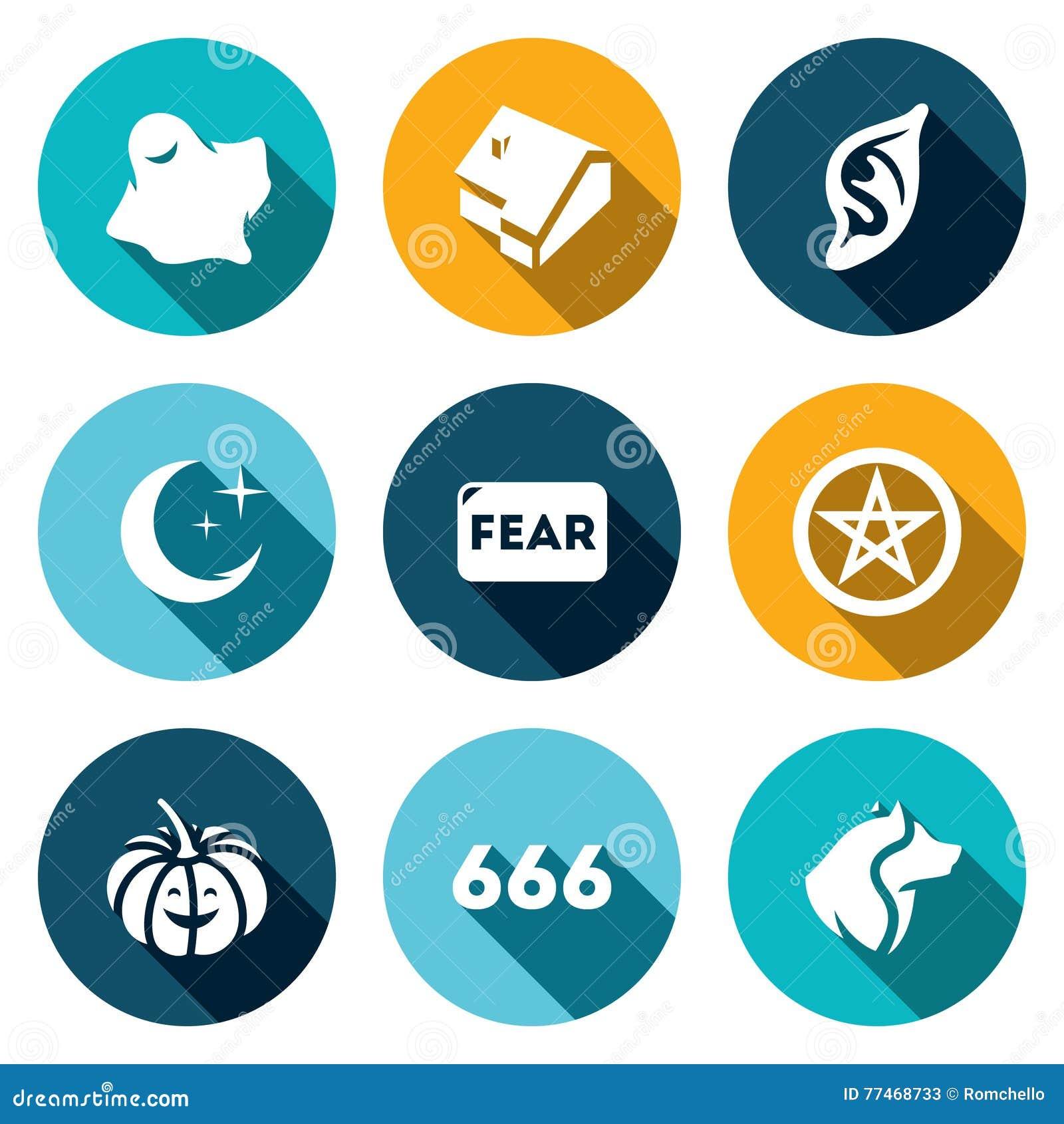 Grupo do vetor de ícones do medo Ghost, casa, vampiro, noite, diabo, Dia das Bruxas, estrela, homem-lobo