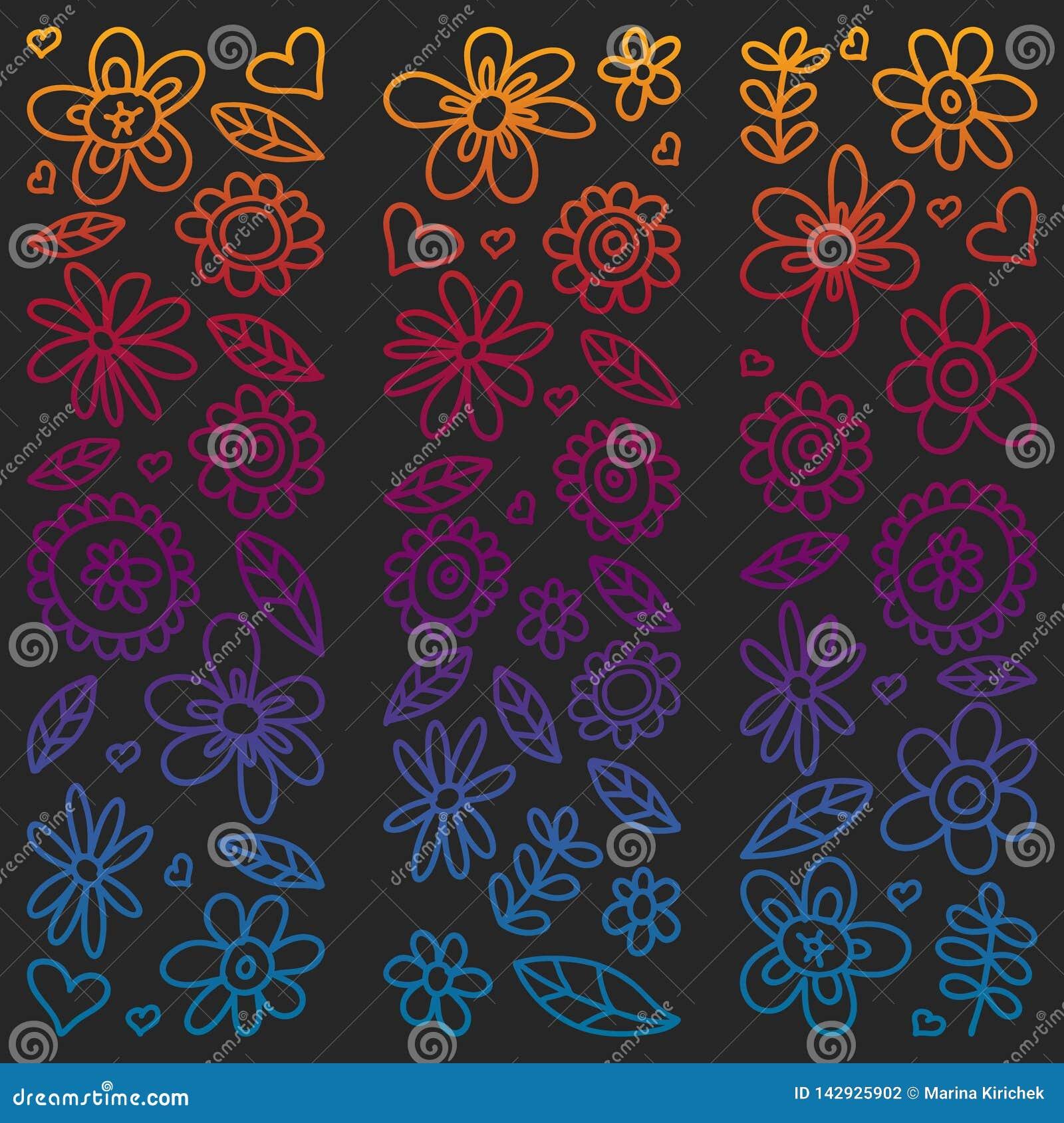 Grupo do vetor de ícones de tiragem das flores da criança no estilo da garatuja Pintado, colorido, imagens do inclinação em um pe