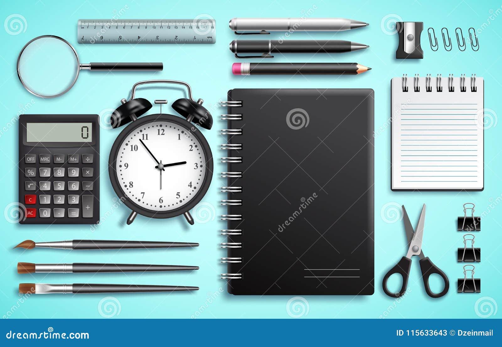 Grupo do vetor de artigos da escola e materiais de escritório ou artigos de papelaria modernos do negócio