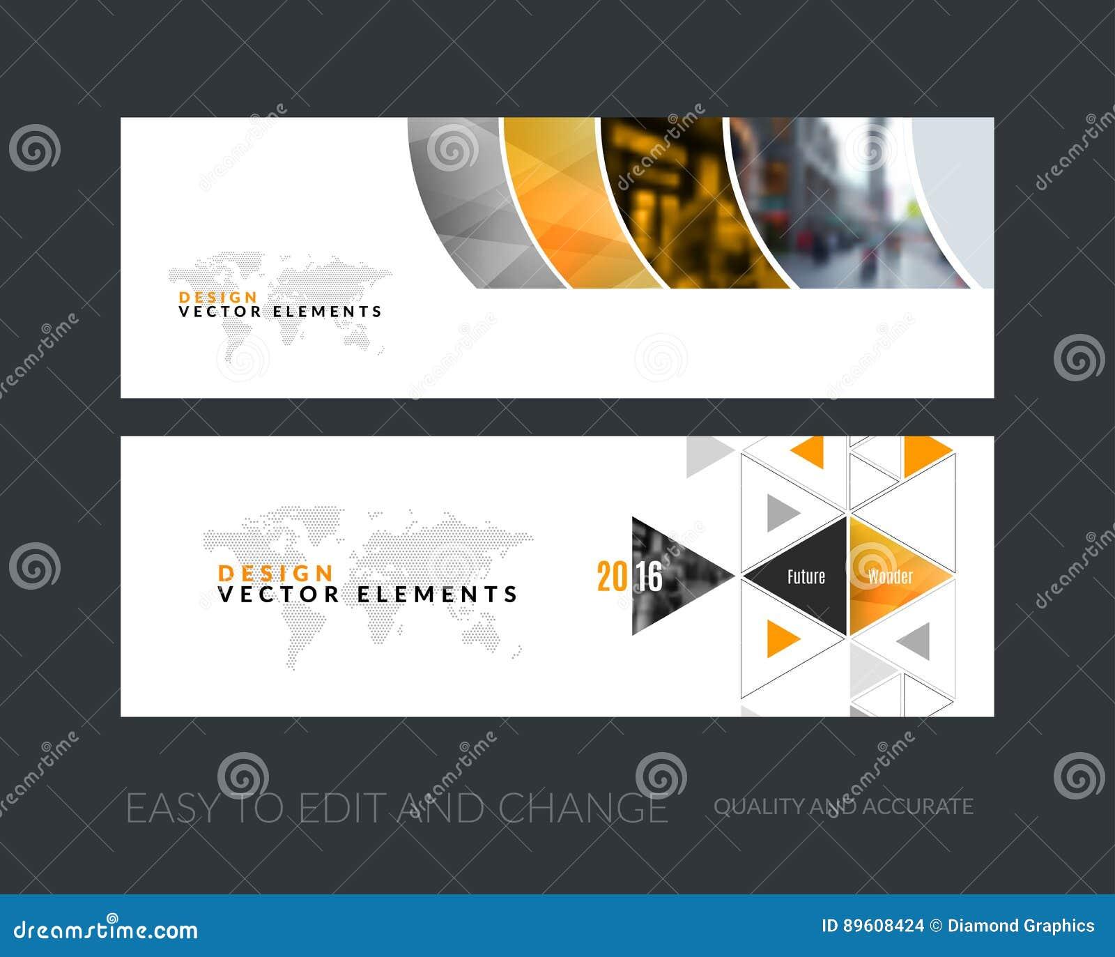 Grupo do vetor de bandeiras horizontais modernas do Web site com g colorido