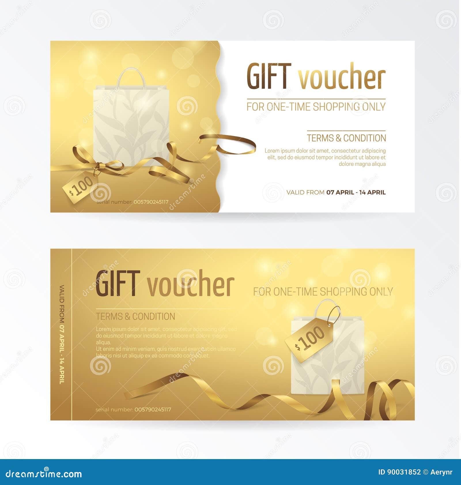 Grupo do vetor de comprovante de presente com saco de compras de papel, curva pequena, fitas e etiquetas no fundo brilhante do ou
