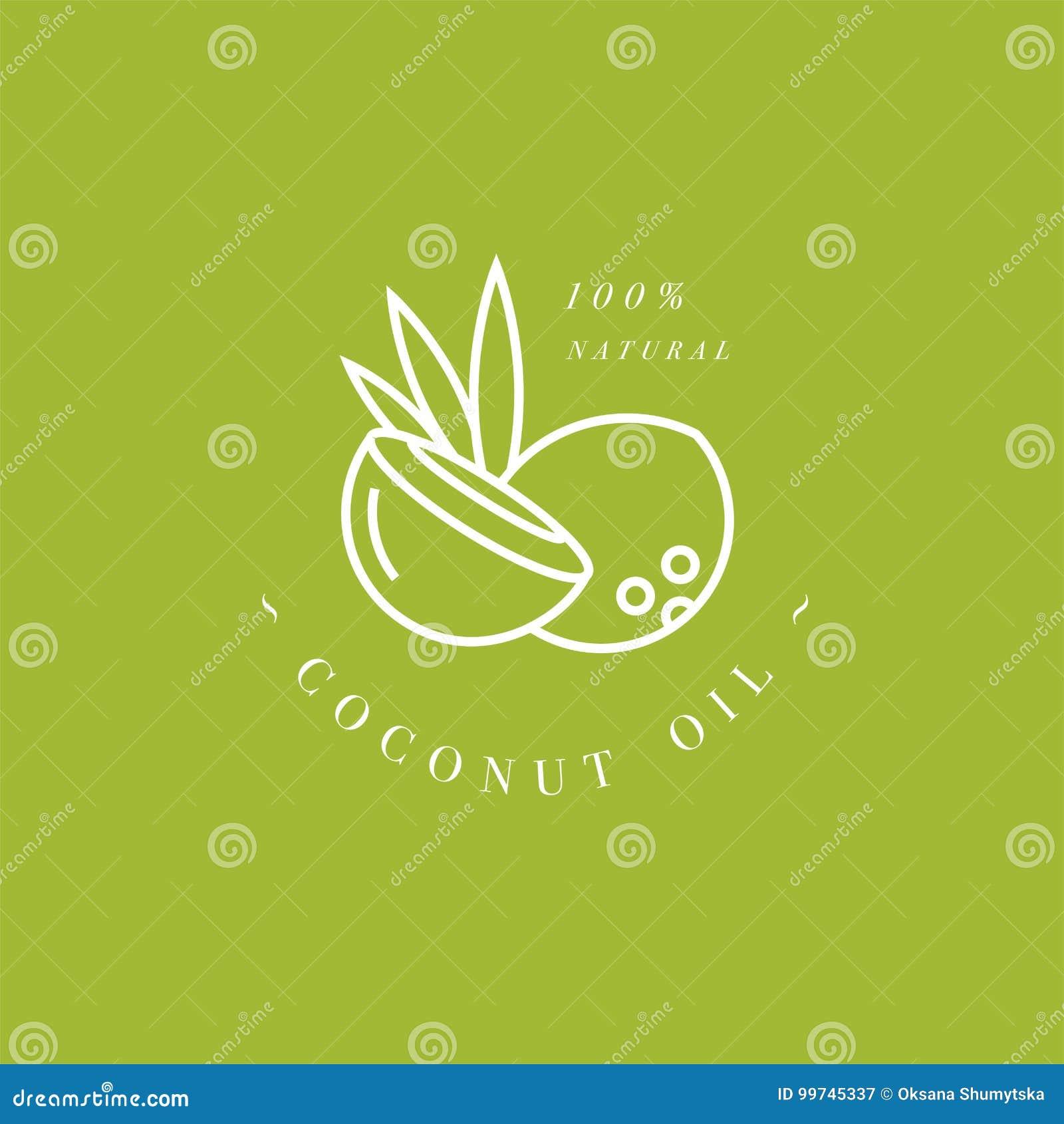 Grupo do vetor de elemento do projeto de empacotamento e de ícone no estilo linear - leite de coco - bebida saudável do vegetaria