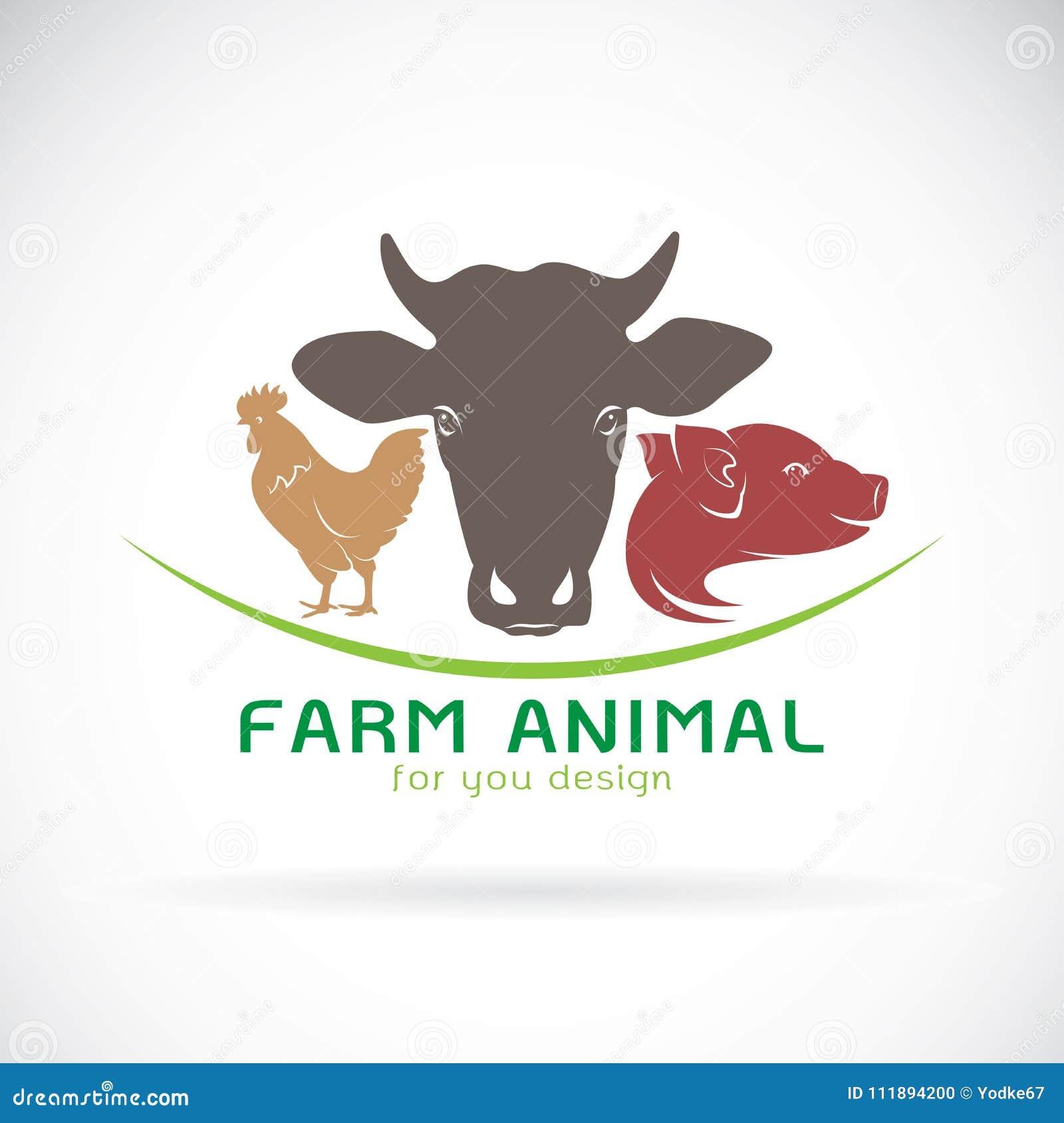 Grupo do vetor de etiqueta da exploração agrícola animal , Vaca, porco, galinha logo