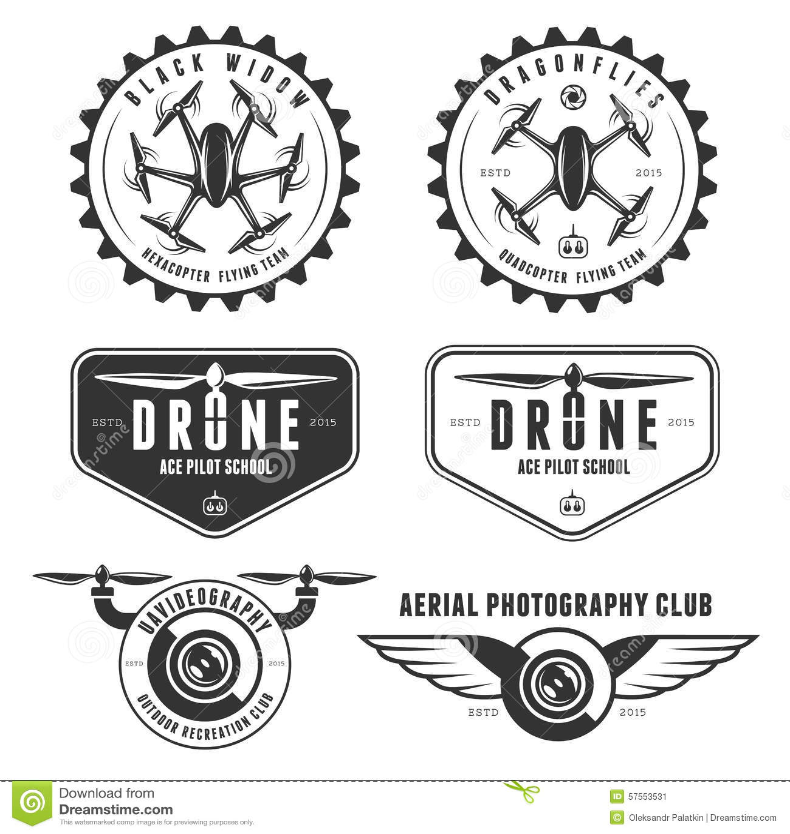 Grupo do vetor de etiquetas do clube do voo do zangão, crachás