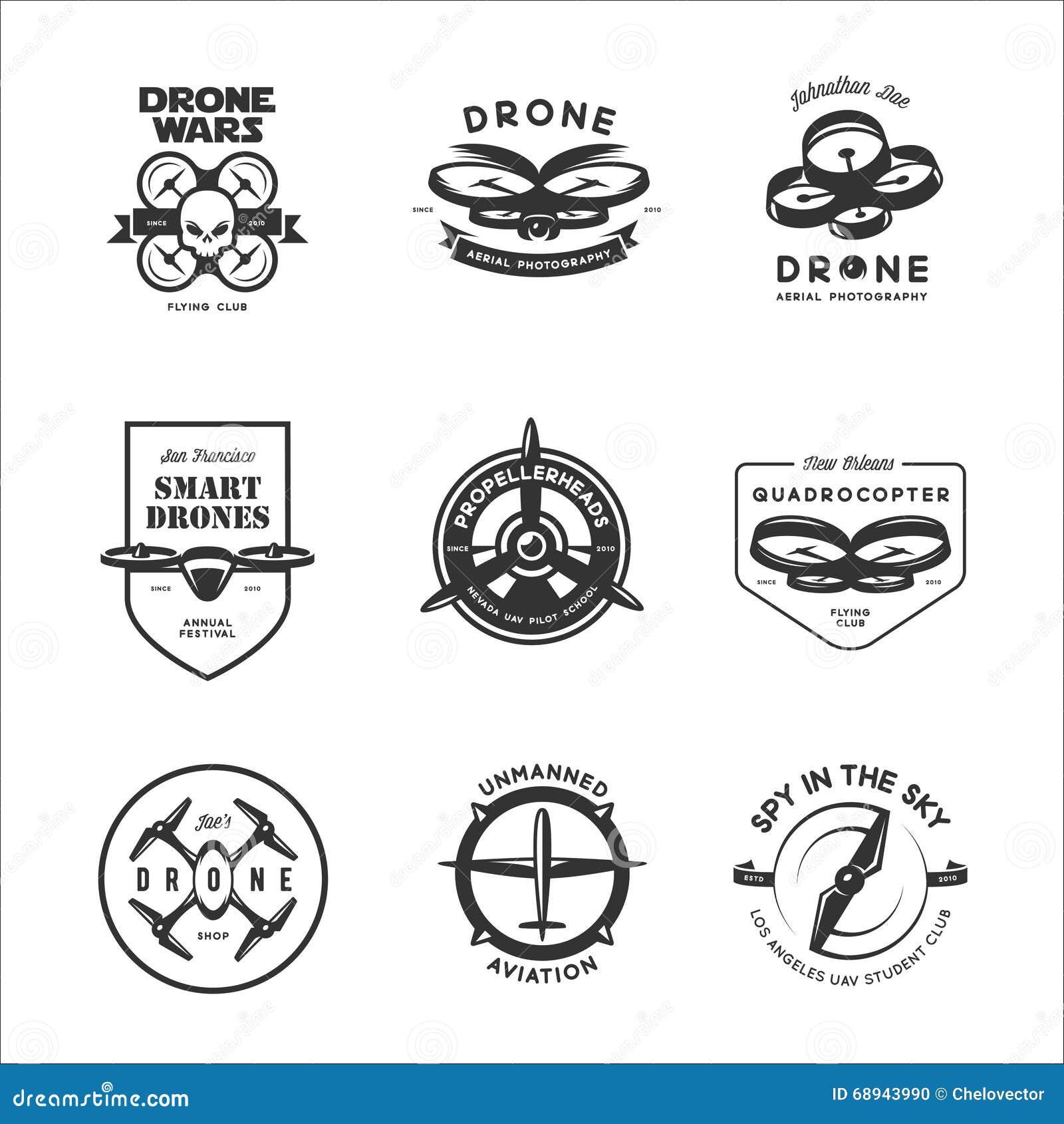 Grupo do vetor de etiquetas do clube do voo do zangão, crachás, elementos do projeto