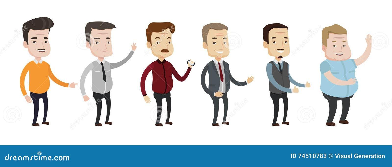 Grupo do vetor de ilustrações envelhecidas meio do homem