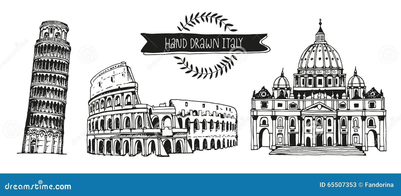 Grupo Do Vetor De Itália, Coleção Tirada Mão De Marcos Italianos ...