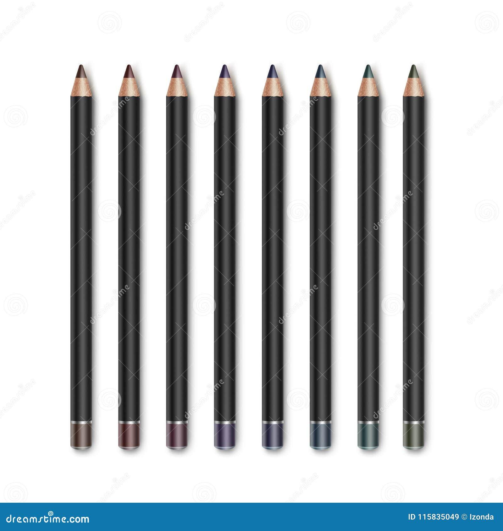 Grupo do vetor de lápis Vinous escuros coloridos de Violet Purple Cosmetic Makeup Eyeliner do verde azul de Brown isolados no bra