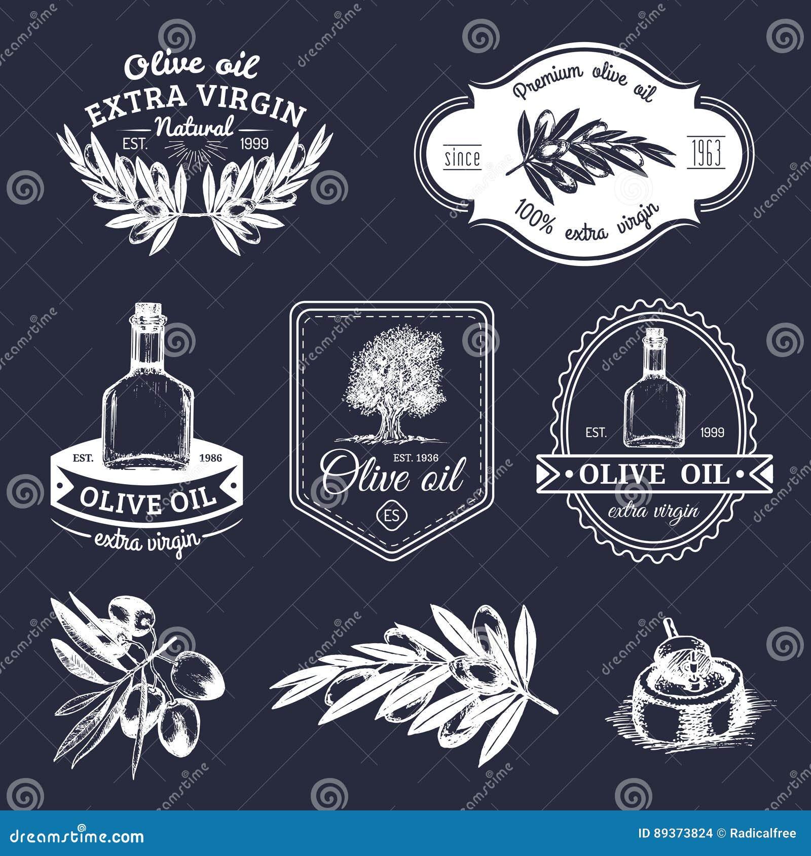 Grupo do vetor de logotipos verde-oliva naturais da produção do vintage A mão retro esboçou sinais extra do óleo virgem com eleme