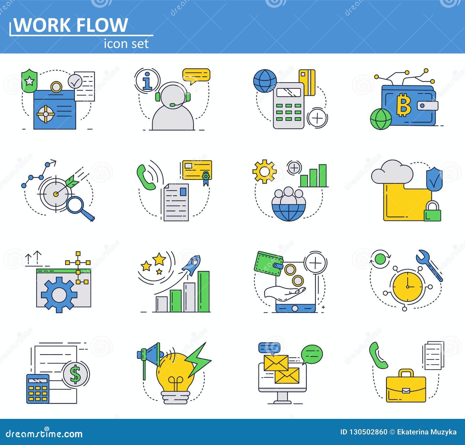 Grupo do vetor de negócio e ícones digitais do dinheiro na linha estilo fina Web site UI e ícone móvel do app da Web Projeto do e