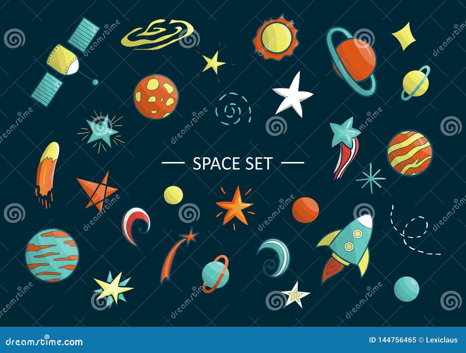 Grupo do vetor de objetos do espaço