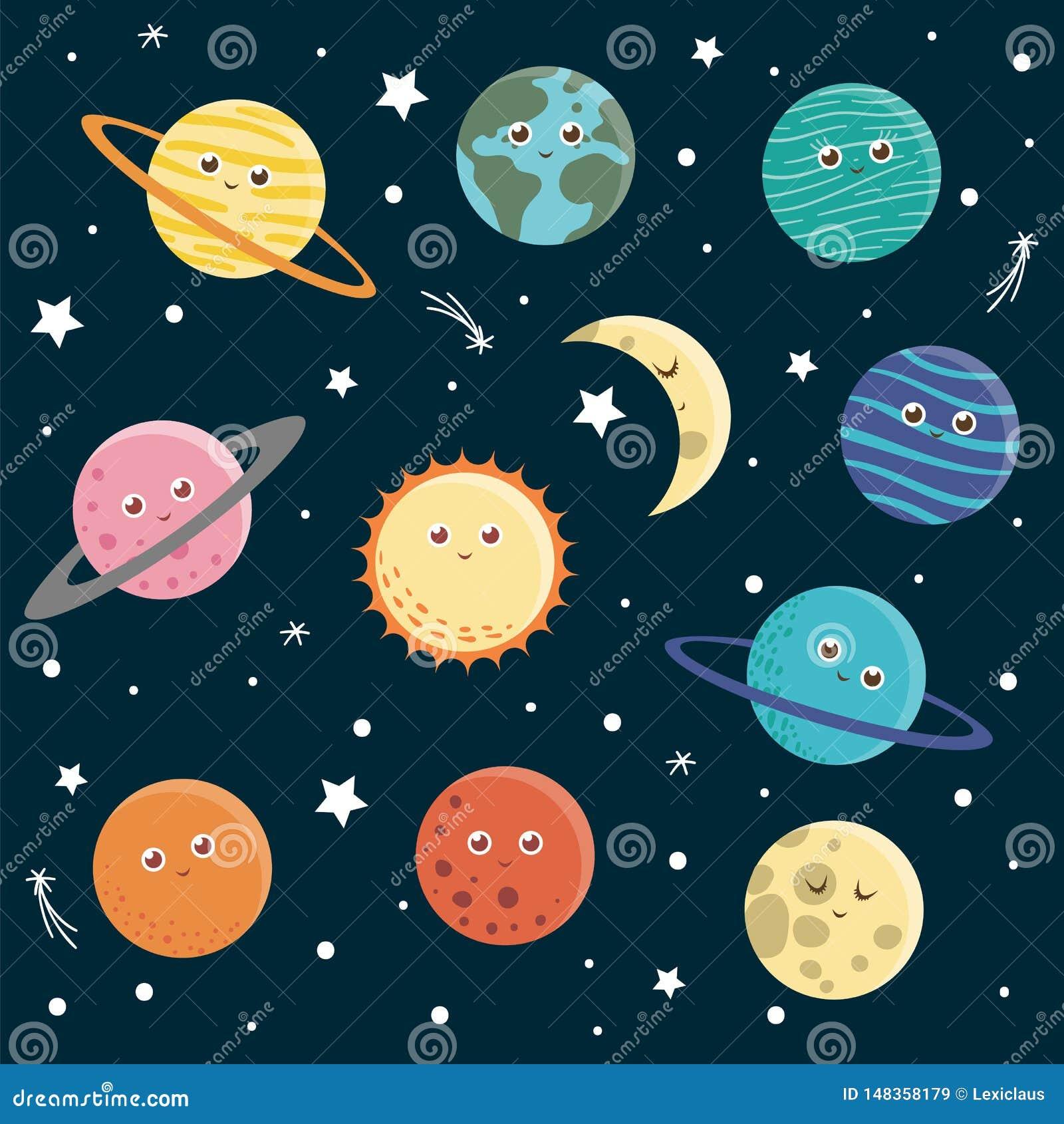 Grupo do vetor de planetas para crian?as