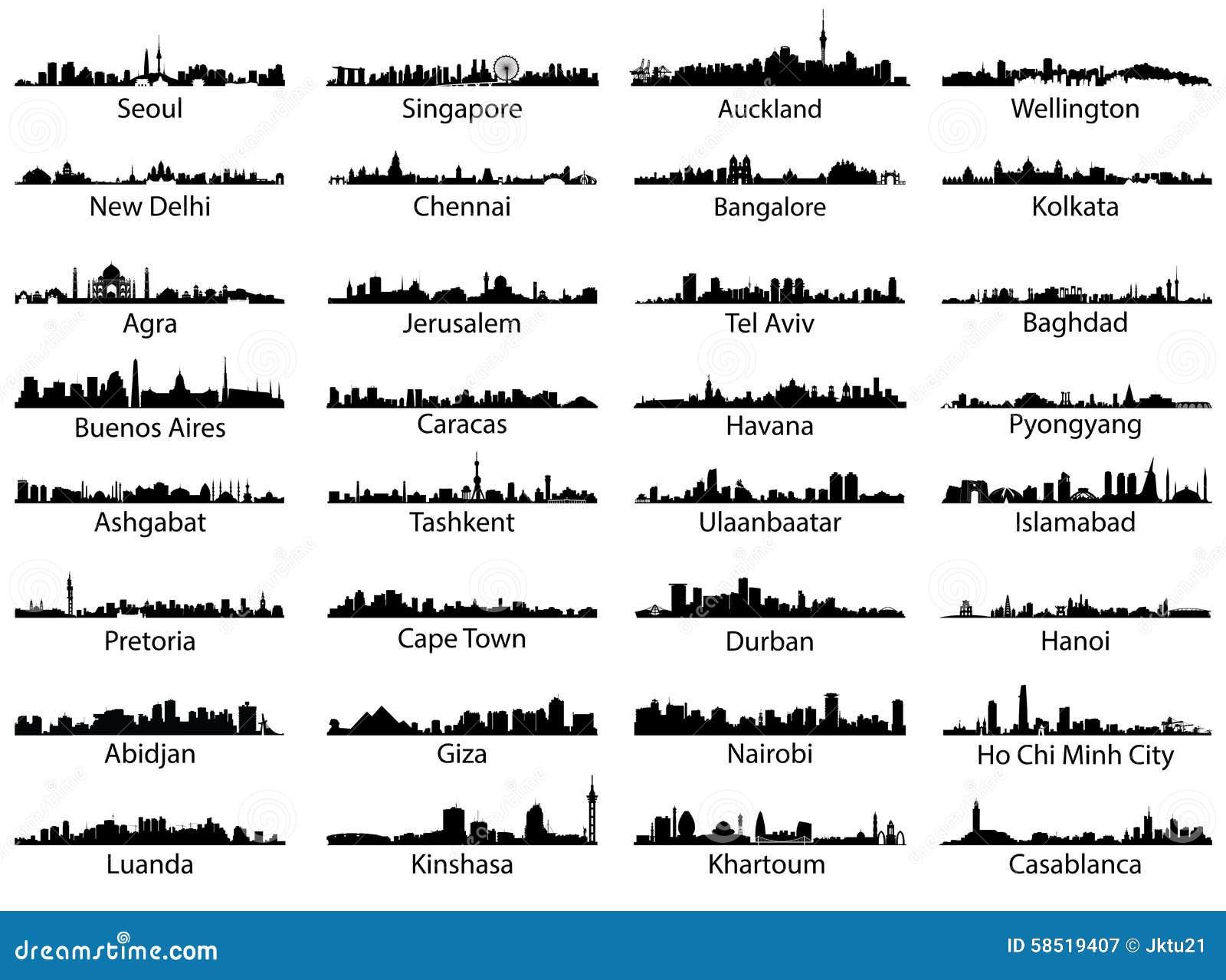 Grupo do vetor de skylines da cidade do mundo