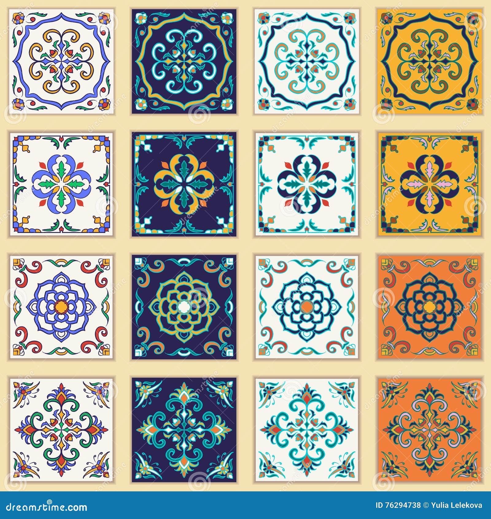 Grupo do vetor de telhas portuguesas Testes padrões coloridos bonitos para o projeto e a forma