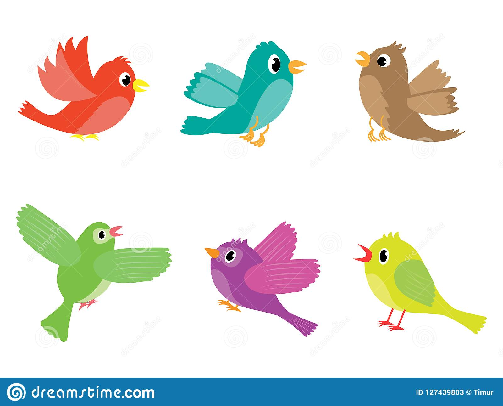 Grupo Do Vetor De Vários Pássaros Coloridos Dos Desenhos Animados ...