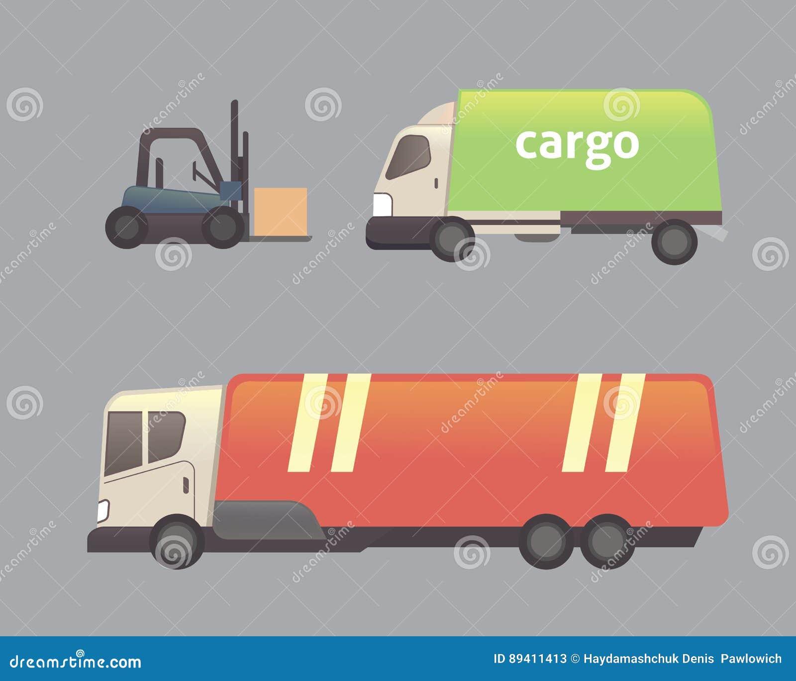 Grupo do vetor do transporte do caminhão da carga