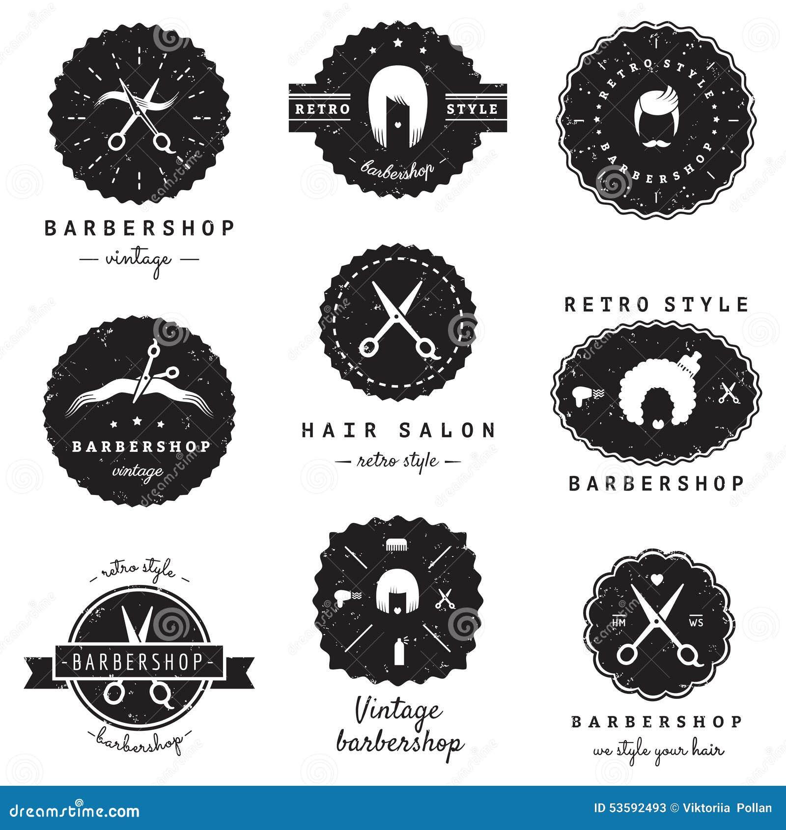 Grupo do vetor do vintage dos logotipo-crachás do barbeiro (cabeleireiro)  Moderno e estilo retro